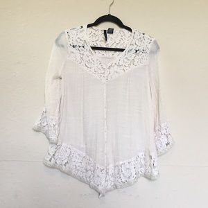 New Direction cream lace button down blouse Sz S